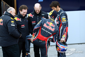 Christian Horner, Red Bull Racing, Sporting Director with Adrian Newey, Red Bull Racing, Technical Operations Director, Sebastian Vettel, Red Bull Racing and Mark Webber, Red Bull Racing