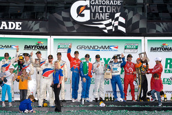 DP podium: class and overall winners Joey Hand, Scott Pruett, Graham Rahal and Memo Rojas, second place Dario Franchitti, Jamie McMurray and Juan Pablo Montoya, third place Joao Barbosa, Terry Borcheller, Christian Fittipaldi, JC France and Max Papis