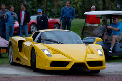 A Ferrari Enzo uses its adjustable height to get off the lawn