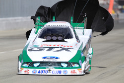 Mike Neff deploys his parachutes in his Castrol GTX Ford Mustang Funny Car