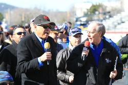 Don Prudhomme and Bob Frey participating in a fan walk Sunday morning before eliminations