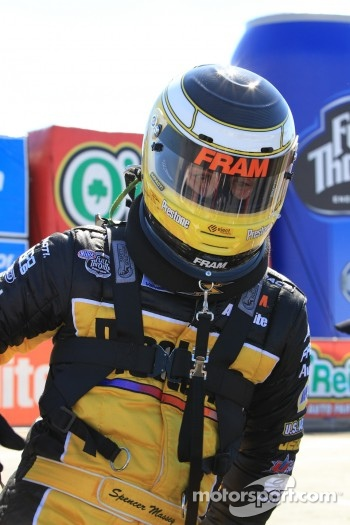Spencer Massey exiting his Fram / Prestone Top Fuel dragster
