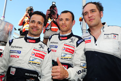 Pedro Lamy, Stéphane Sarrazin and Franck Montagny celebrate LMP1 pole