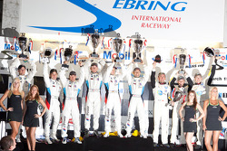 GT podium: class winners Andy Priaulx, Dirk Müller and Joey Hand, second place Augusto Farfus Jr., Bill Auberlen and Dirk Werner, third place Olivier Beretta, Tom Milner and Antonio Garcia