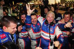 Oreca team manager Hugues de Chaunac celebrates with his team
