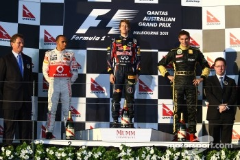 Podium: first place with Sebastian Vettel, Red Bull Racing with second place Lewis Hamilton, McLaren Mercedes and third place Vitaly Petrov, Lotus Renault GP