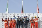LM GTE Am podium: class winners Horst Felbermayr Sr., Horst Felbermayr Jr. and Gerold Ried, second place Piergiuseppe Perazzini, Marco Cioci and Stphane Lemeret, third place Michal Bromiszewski and Philipp Peter
