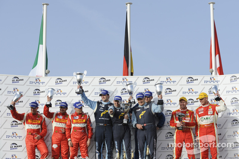 LM GTE Am podium: class winners Horst Felbermayr Sr., Horst Felbermayr Jr. and Gerold Ried, second place Piergiuseppe Perazzini, Marco Cioci and Stéphane Lemeret, third place Michal Bromiszewski and Philipp Peter