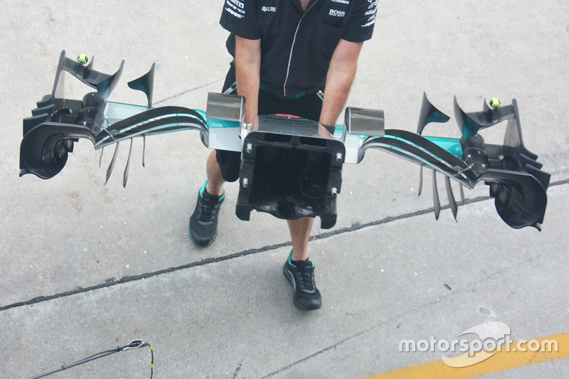 The Mercedes front wing assembly