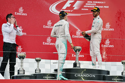 The podium (L to R): Race winner Nico Rosberg, Mercedes AMG F1 with third placed team mate Lewis Hamilton, Mercedes AMG F1