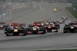 Start of the race, Sebastian Vettel, Red Bull Racing and Lewis Hamilton, McLaren Mercedes
