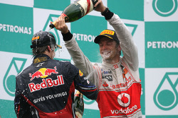 Podium: race winner Sebastian Vettel, Red Bull Racing, second place Jenson Button, McLaren Mercedes