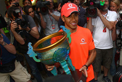 Race winner Lewis Hamilton, McLaren Mercedes celebrates with his team