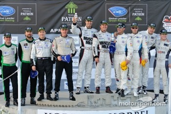 Class winners podium: P1 and overall winners Klaus Graf and Lucas Luhr, PC winners Gunnar Jeannette and Ricardo Gonzalez, GT winners Dirk Müller and Joey Hand, P2 winners Scott Tucker and Christophe Bouchut, GTC winners Tim Pappas and Jeroen Bleekemolen