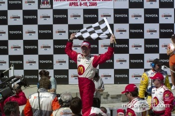Race winner Sbastien Bourdais celebrates