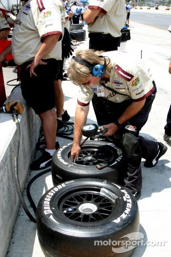Newman/Hass Racing crew member at work