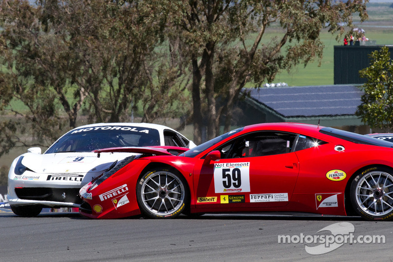 Start: #9 Ferrari of Beverly Hills Ferrari 458 Challenge: Jay Lee and #59 Algar Ferrari Ferrari 458 Challenge: John Farano collide