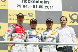 Race winner Bruno Spengler, Team HWA AMG Mercedes, second place Mattias Ekström, Audi Sport Team Abt Sportsline Audi A4 DTM, third place Ralf Schumacher, Team HWA AMG Mercedes