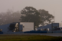 The paddock in the early morning fog