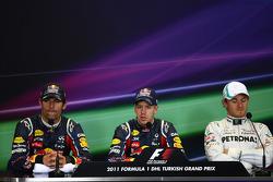 Mark Webber, Red Bull Racing with Sebastian Vettel, Red Bull Racing and Nico Rosberg, Mercedes GP F1 Team