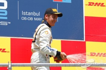 Stefano Coletti celebrates his victory on the podium