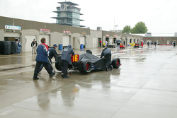 Rain falls on garage area