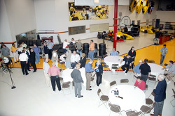 Media interview Panther Racing drivers and officials at the team's Indianapolis shop