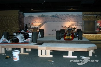 Al Unser, Jr. and Bobby Unser's cars in place in Indy 500 room