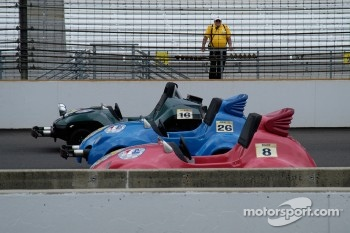 Minnie Indy Charity Race cars, under the watchful eye of the Safety Patrol