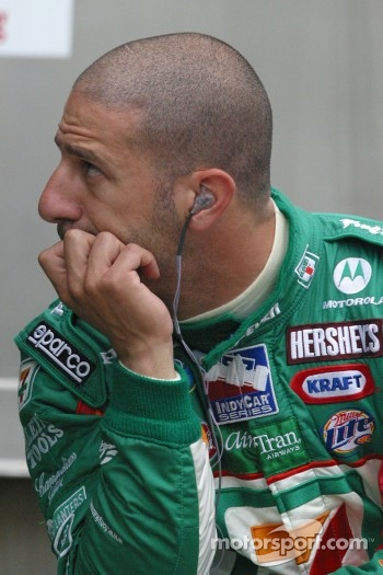 Tony Kanaan watches the lap times