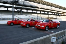 Three Chevrolet SSR vehicles on the Yard of Bricks at the Indianapolis Motor Speedway