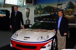 Chevrolet General Manager Ed Peper, left, and Indianapolis Motor Speedway President and General Manager Joie Chitwood with the 2006 Chevrolet Corvette Z06 Pace Car