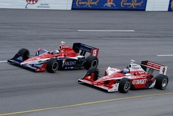 Buddy Rice and Scott Dixon at speed