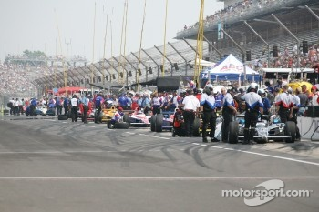 Cars on pit lane