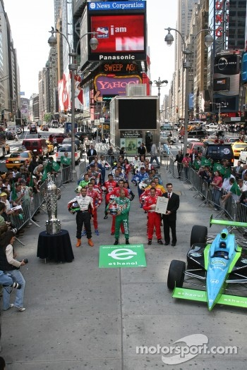 The 91st Indianapolis 500 field lines up by row in Times Square for a photo