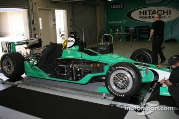 The #20 car of Ed Carpenter in the garage area