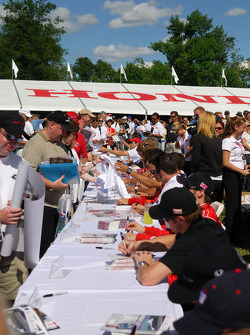 Fans gather for autographs