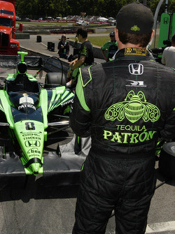 Scott Sharp looks over the Patron Sharp Rahal Letterman car