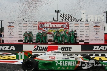 Victory lane: race winner Tony Kanaan celebrates