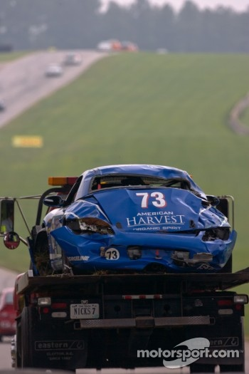 #73 DeMan Motorsport Boxster after its massive crash