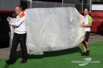 Force India carry in a new parts
