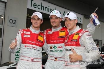 Oliver Jarvis, Audi Sport Team Abt Audi A4 DTM, Martin Tomczyk, Audi Sport Team Phoenix Audi A4 DTM, Edoardo Mortara, Audi Sport Team Rosberg, Audi A4 DTM