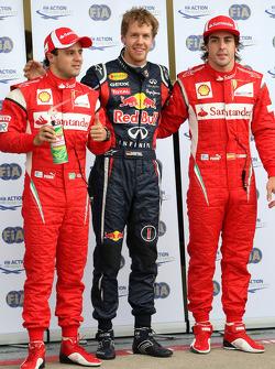 Felipe Massa, Scuderia Ferrari, Sebastian Vettel, Red Bull Racing and Fernando Alonso, Scuderia Ferrari