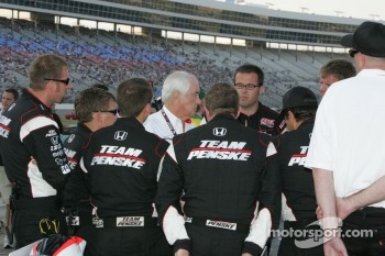 Team Penske meets with Roger Penske before the race
