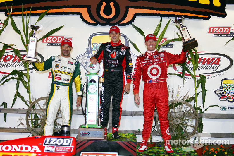 Victory lane: race winner Marco Andretti, second place Tony Kanaan, third place Scott Dixon