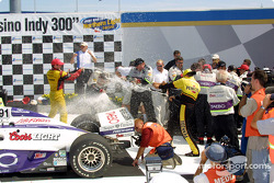 Champagne for Buddy Lazier, Scott Sharp and Sam Hornish Jr.