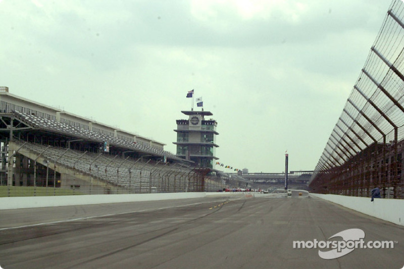 The view down the front stretch