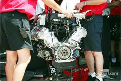Bare engine in garage