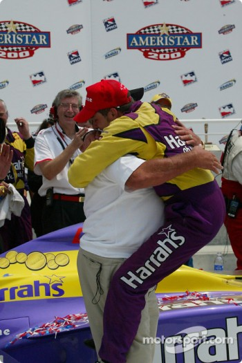 Airton Daré and A.J. Foyt celebrating
