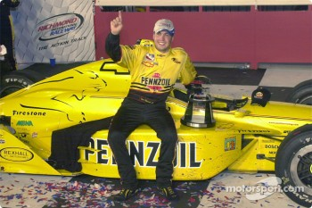 Sam Hornish with his winning car
